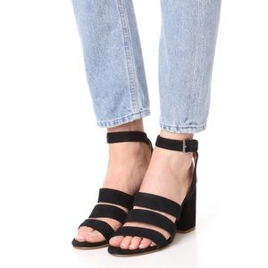 Madewell black suede strappy heels sandals